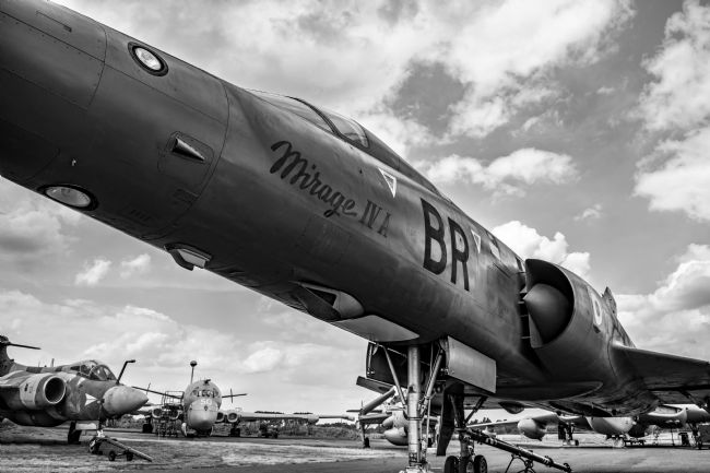 Robert  J Gipson |  Mirage  jet aircraft monochrome