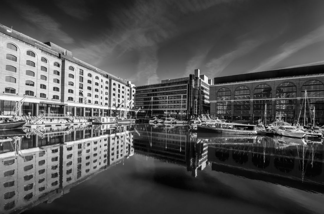 Chris Thaxter | St Katherines Dock black and white