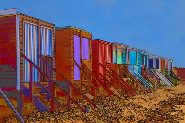Chris Thaxter | Cartoonised Beach Huts Southend