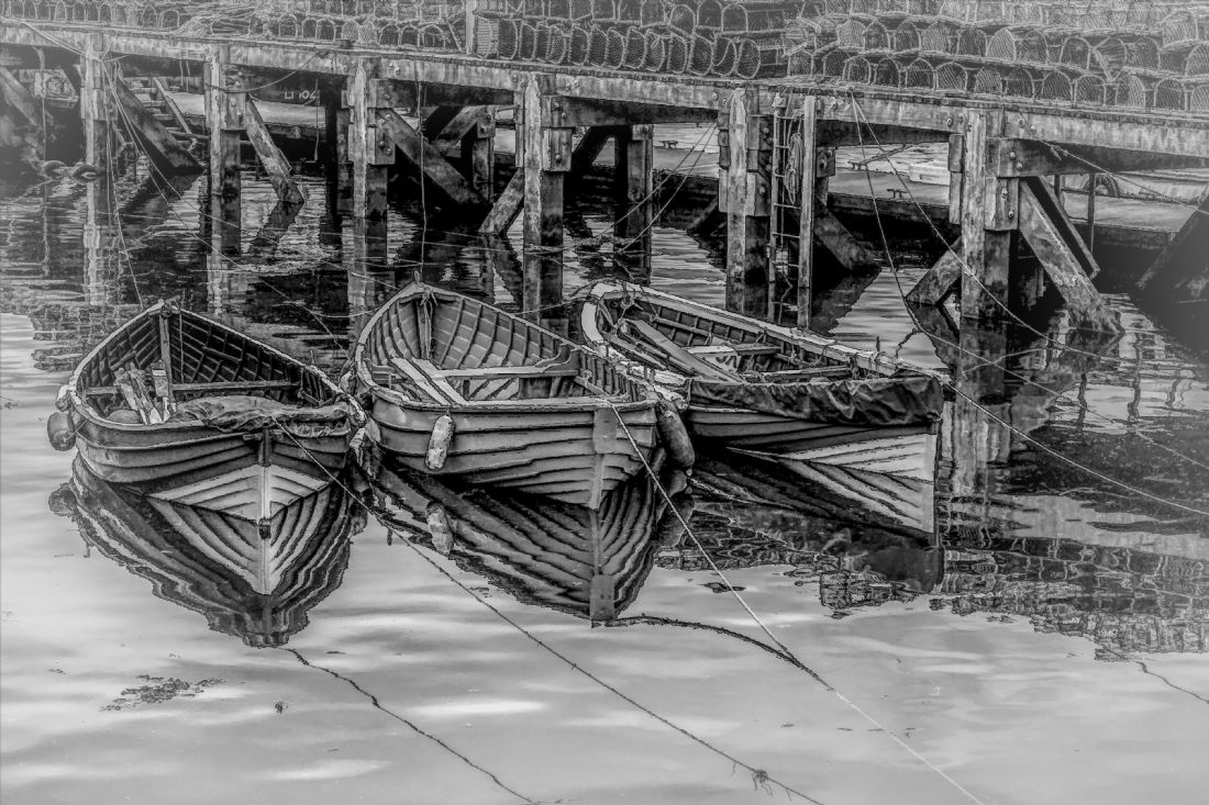 Frank Etchells | Three Tethered Boats, Whitby.