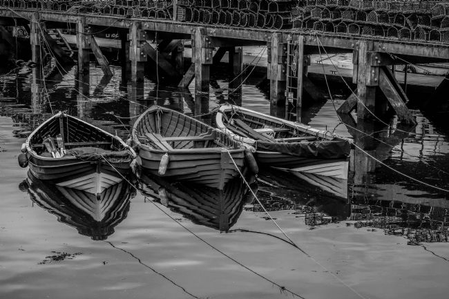 Frank Etchells | Three Tethered Boats. BW