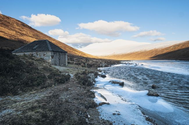 David Brookens | Icy Loch Iorsa and the Boatshed