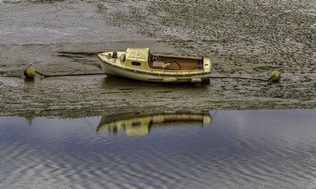 Pauline  Tims | Boat Reflection at Brightlingsea, Essex