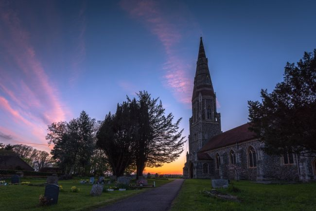 Nick Rowland | Sunset behind St Andrew's Church, Great Finborough