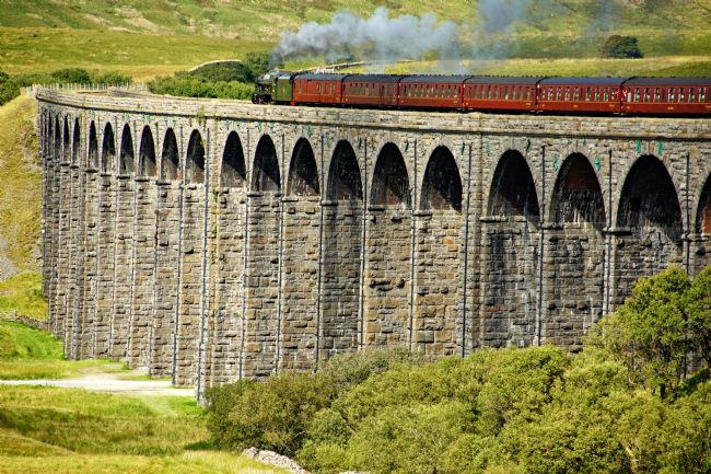 David Birchall | Steam train crossing Ribblehead viaduct