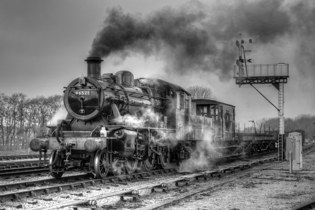 David Birchall | Steam locomotive 46521 hauling freight.