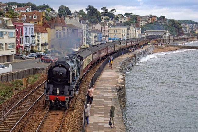 David Birchall | 34052 Lord Dowding on Dawlish seawall line.