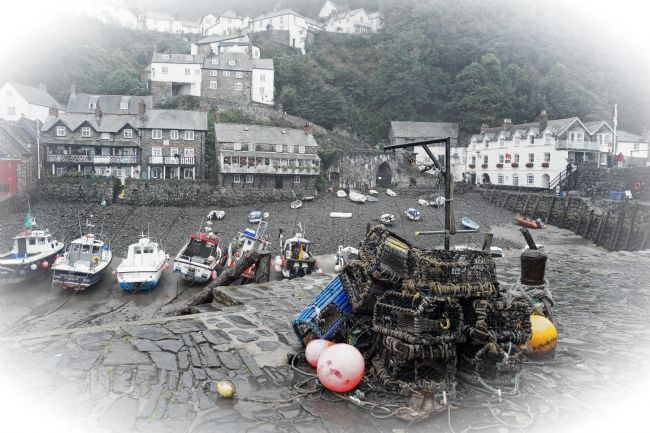 David Birchall | Clovelly Harbour on a wet day