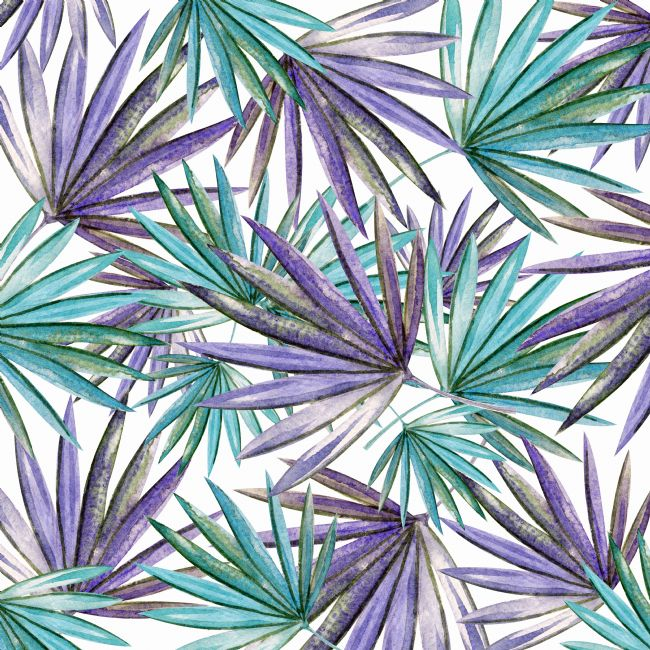 Kaye Menner | Aqua Purple Palm Pattern