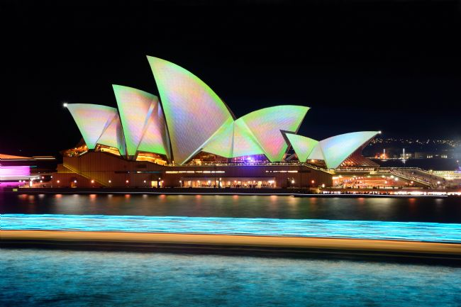 Kaye Menner | Aqua Light Trails Before Pastel Opera House