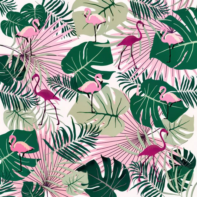Kaye Menner | Flamingos on Green Leaves