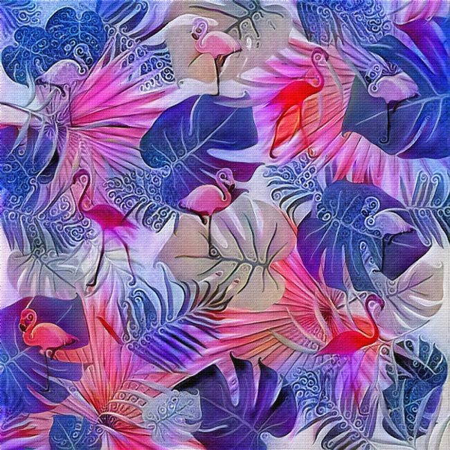 Kaye Menner | Flamingos and Tropical Leaves Art