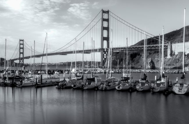 jonathan nguyen | bridge and sailboats bw