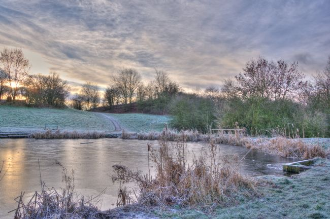 Matthew Boxley | Winter Sunrise over a Frozen Pool
