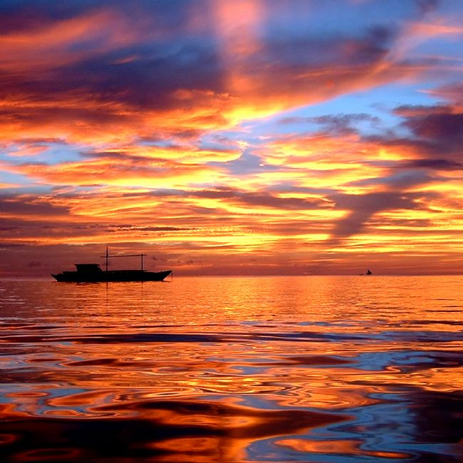 Serena Bowles | Boracay Sunset with Boats Reflected in Sea, Philippines