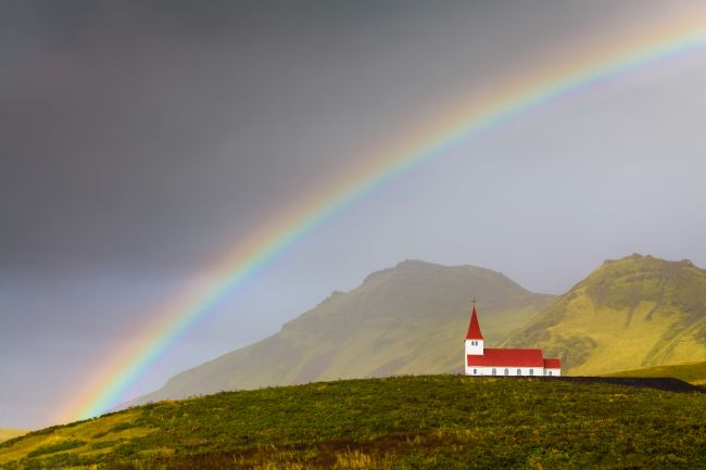 Heidi Stewart | Rainbow Over Vik Church Iceland