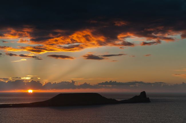 Nigel Forster | Worms Head Sunset, Rhossili Bay, Gower Peninsula