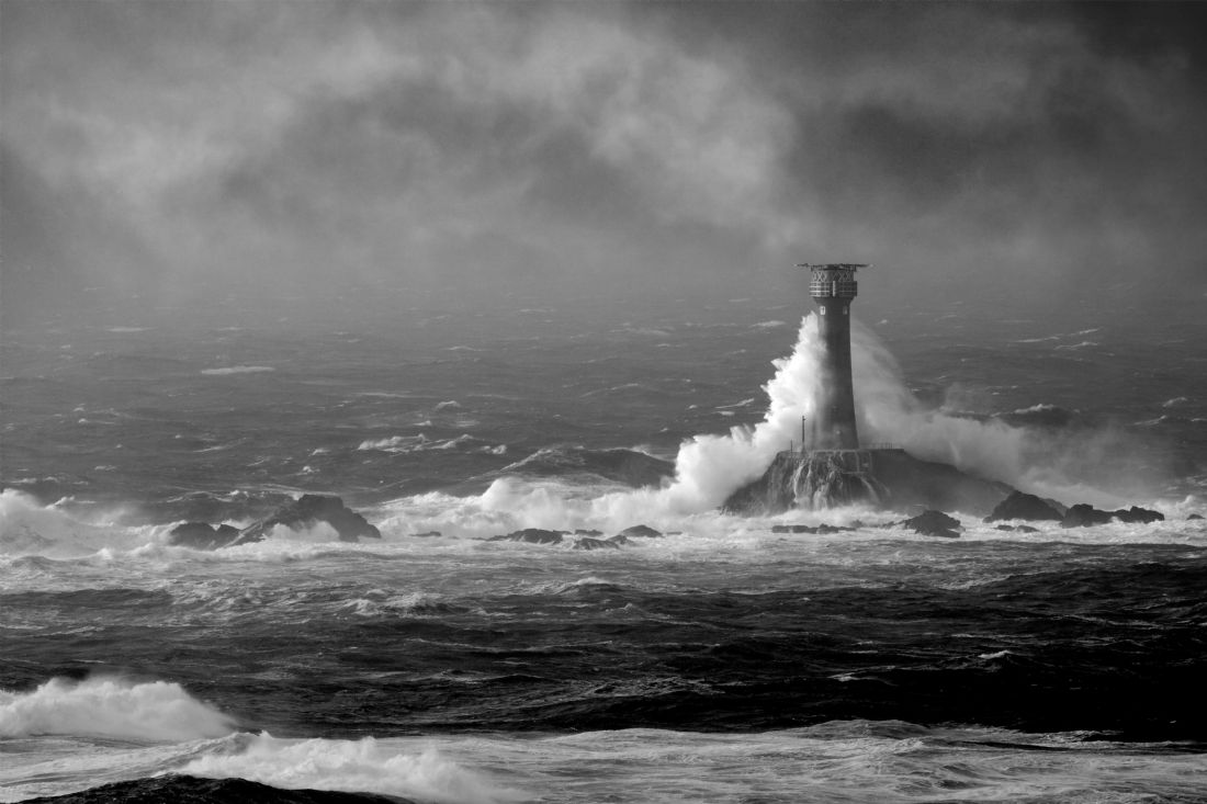 Terri Waters | Lighthouse Storm In Monochrome