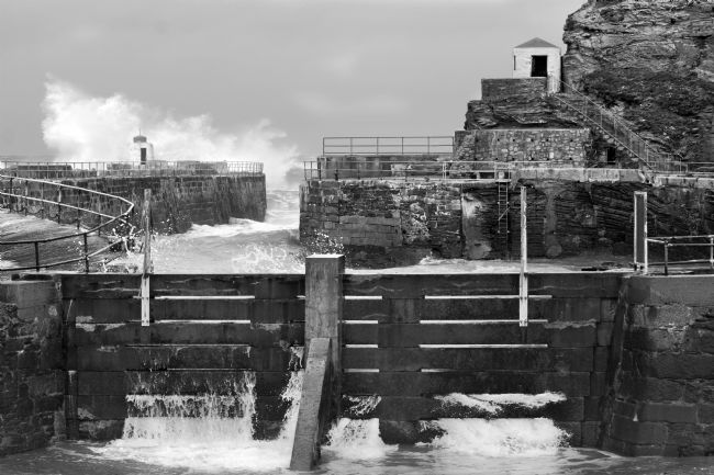 Terri Waters | Portreath Harbour In Monochrome