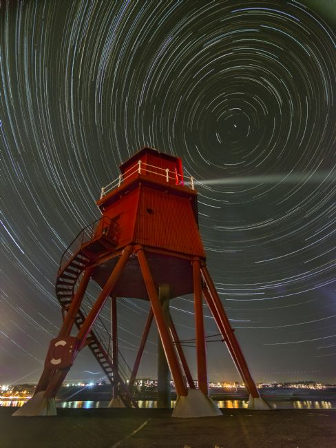 A Blakey | Star trail at the groyne, South Shields