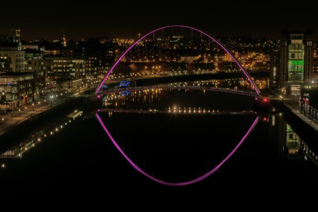 andrew blakey | River tyne View - millennium bridge pink