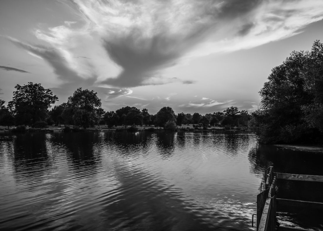 Mike Carroll | Lake at Sunset Black and White