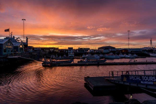 Mike Carroll | Sunset Reflections in Reykjavik harbour