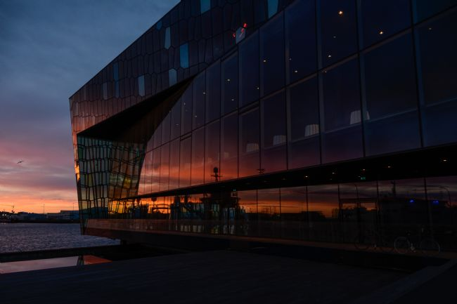 Mike Carroll | Harpa sunset reflections
