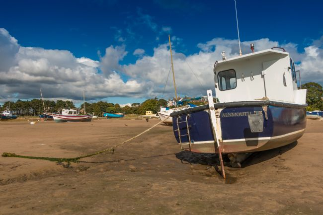 Richard Laidler | Boats Moored in Alnmouth Harbour, Northumberland at Low Tide
