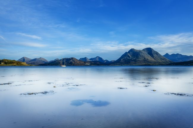 Phill Thronton | A very still Sound of Raasay and the mountains of the Isle of Skye.