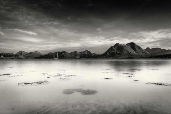 Phill Thornton | A very still Sound of Raasay and mountains B&W