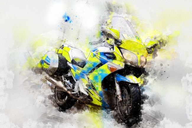 Paul Lilley | Contempory water colour of a British Police Motorbike