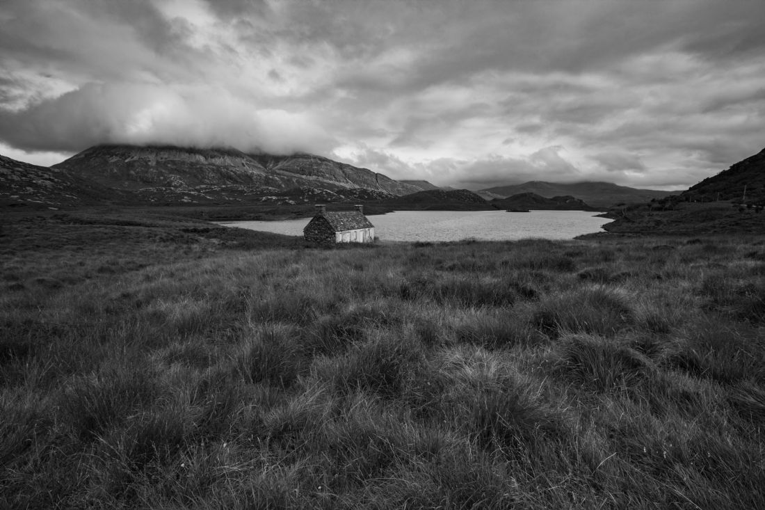 Tom Dolezal | Boathouse at Loch Stack monochrome