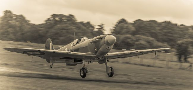 Tom Dolezal | Spitfire take-off - sepia