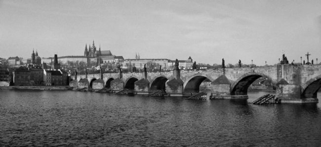 Tom Dolezal | Charles Bridge and Hradcany castle, Prague, mono