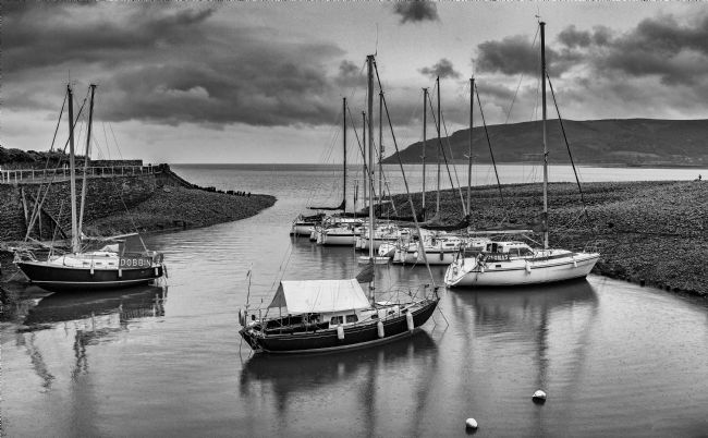 Tom Dolezal | Yachts at Porlock harbour, monochrome