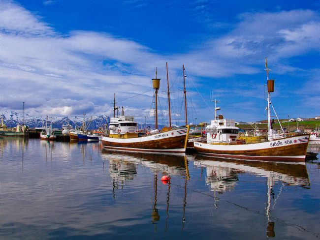 Tom Dolezal | Reflections of Icelandic fishing boats
