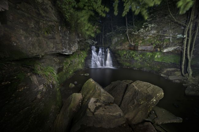 Chris  North | Goit Stock Waterfall by night.