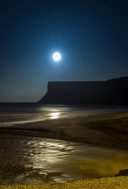 Chris  North | Moon rise over Cliffs at Saltburn on Sea