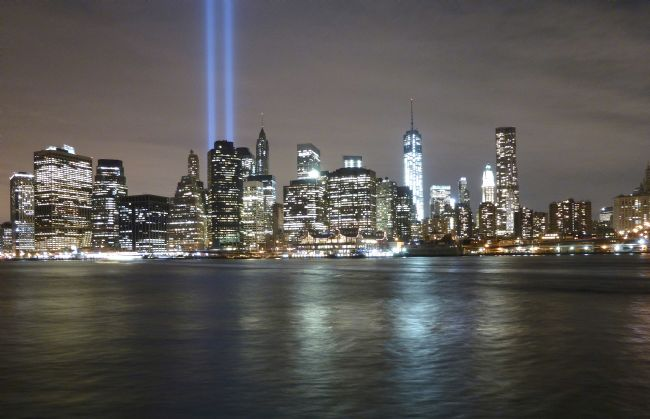 Andrew Heaps | New York skyline twin towers light beams
