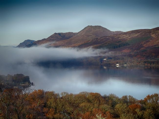 yvonne carroll | Ben Lomond over the mist, from Inch Cailloch island
