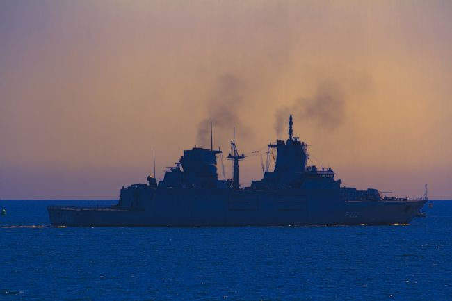 Kris Ohlsson | German Naval Frigate at Sunset