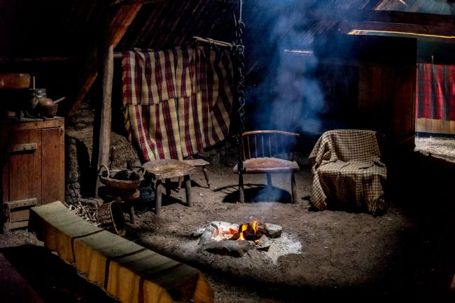 Roger Hollingsworth | Inside a Traditional Crofter's Home heated by a peat fire.