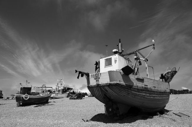 James Brunker | Fishing boats in black and white Hastings