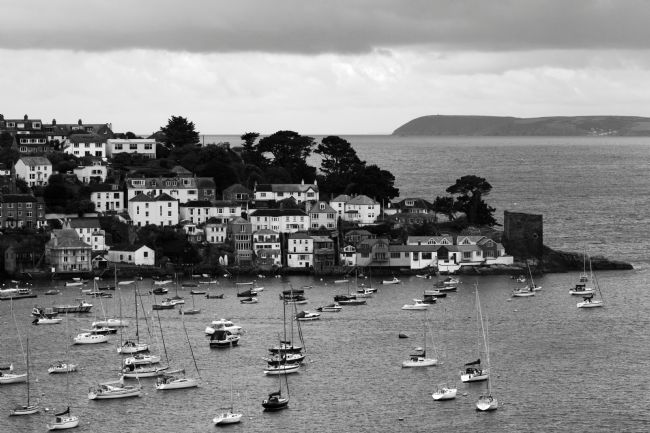 James Brunker | Polruan Village and Harbour in Black and White Cornwall