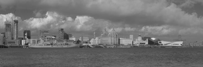 Liam OMalley | Black and White Liverpool Skyline