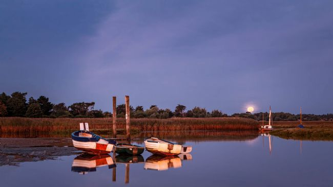 David Powley | Moon light at Brancaster Staithe