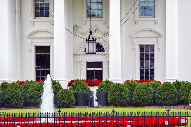 William Perry | White House Door Red Flowers Chandelier Pennsylvania Ave Washing