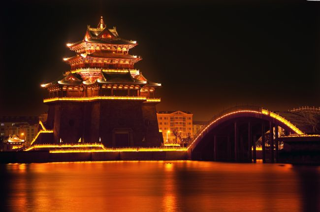 William Perry | Ancient Temple Night Reflection Bridge Jinming Lake Kaifeng Chin