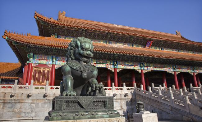 William Perry | Dragon Bronze Statue Tai he Men Gate Gugong Forbidden City Palac